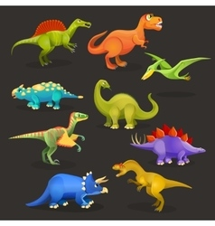 Various dinosaurs set of Jurassic period Funny vector image