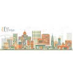 abstract el paso skyline with color buildings vector image vector image
