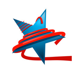 blue star with red ribbon isolated on white vector image vector image