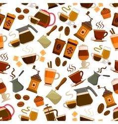 Coffee drinks desserts seamless pattern vector image vector image