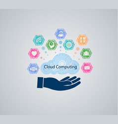 computer cloud with hand vector image vector image
