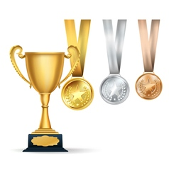 Golden trophy cup and set of medals vector image