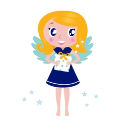 happy little christmas angel child vector image vector image