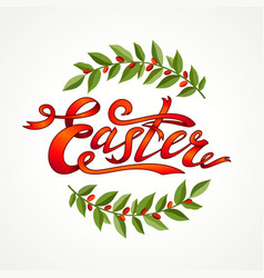 vintage hand drawn easter greeting card green vector image vector image