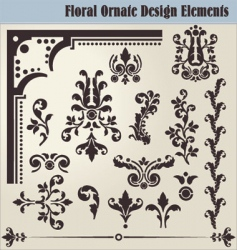 floral ornate elements vector image