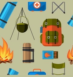 Summer outdoor travel camping tourism seamless vector