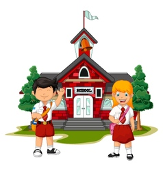two student with school building background vector image