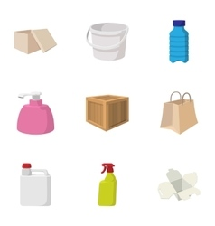 Container icons set cartoon style vector image vector image