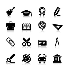 Education Icons with reflection vector image vector image