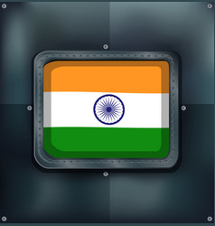 flag of india on metalic background vector image