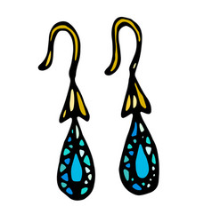 Gold jewellery earrings with blue or turquoise vector
