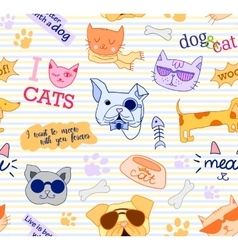 Seamless pattern with cats and dogs Funy vector image
