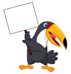 Toucan bird cartoon with blank sign vector image vector image