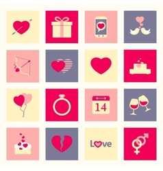 Valentines day flat icons set vector image