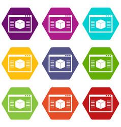 3d model icon set color hexahedron vector image