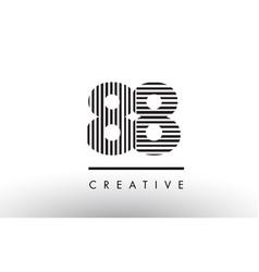 88 black and white lines number logo design vector