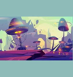 alien planet landscape with fantasy mushroom trees vector image