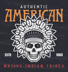 American native indian chief skull vector