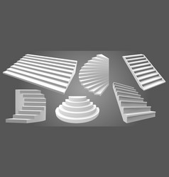 architecture white realistic stairs 3d simple vector image