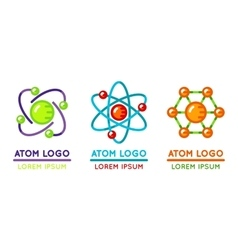 Atom logo set in flat style vector image