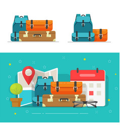 Baggage bags heap or travel trip luggage pile vector