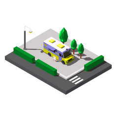 bbq truck street food isometric vector image