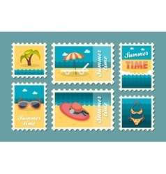 Beach stamp set Summer Vacation vector image