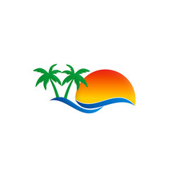beach travel pine tree tropic logo vector image