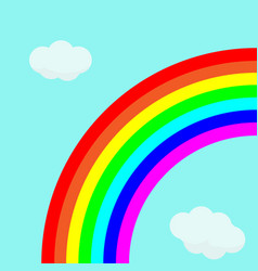 beautiful rainbow in bright sky with clouds vector image