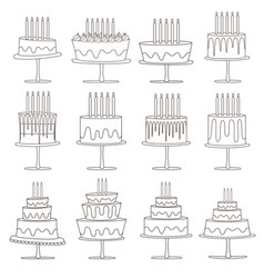 Birthday cakes sweet collection vector