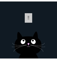 Black cat in the dark Tumbler on off switch Flat vector image