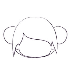 Blurred thin silhouette of faceless head of little vector