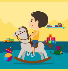 Boy riding toy horse in kindergarten vector