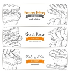 Bread house or bakery shop sketch banners vector