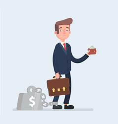 business man chained to his big heavy debt weight vector image