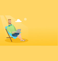 businessman working on laptop on the beach vector image