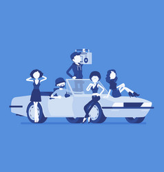 Cabriolet car with people vector