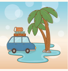 car with suitcases travel vacations scene vector image