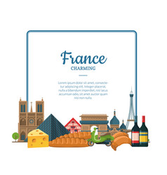 cartoon france sights and objects paris vector image