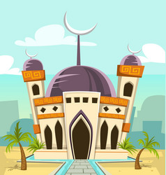 Cartoon luxury great mosque building vector