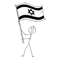 cartoon of man waving the flag of state of israel vector image