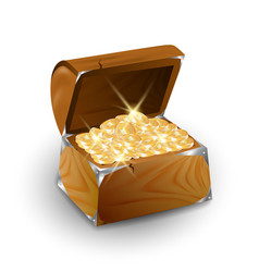 Chest with golden coins vector