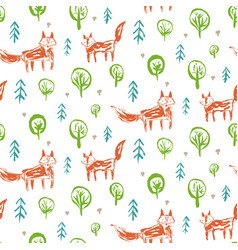 Childish pattern with sketch foxes in forest vector