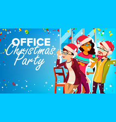 Christmas party in office new year s hats vector