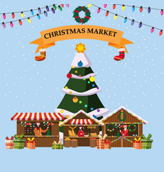 Christmas souvenirs market stall with decorations vector