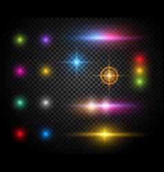 colorful sparkles light effects set vector image