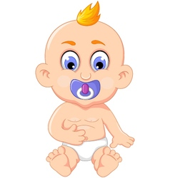 cute baby cartoon posing for you design vector image