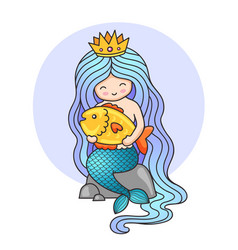 cute little princess mermaid sitting on a rock vector image