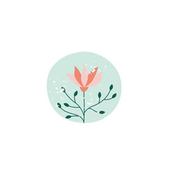 cute textured flower in green circle vector image