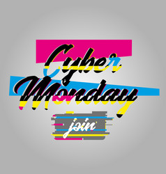 cyber monday poster and glitch effect text vector image